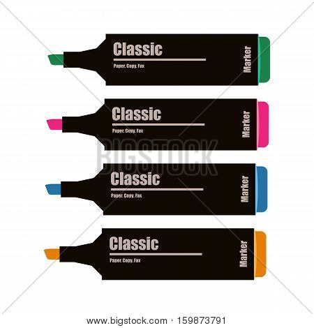 Markers icon illustration. Green pink blue and orange markers. Vector illustration