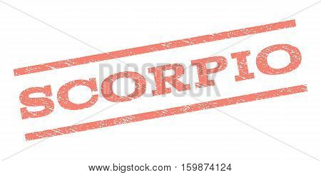 Scorpio watermark stamp. Text tag between parallel lines with grunge design style. Rubber seal stamp with dirty texture. Vector salmon color ink imprint on a white background.