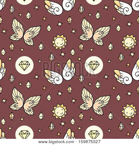 Seamless pattern with butterflies and suns and gems. Magic ornament.