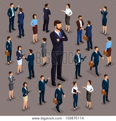 People Isometric 3D the big boss businessman and business woman business clothes. The concept of office workers director and subordinates isolated on a dark background of a noble