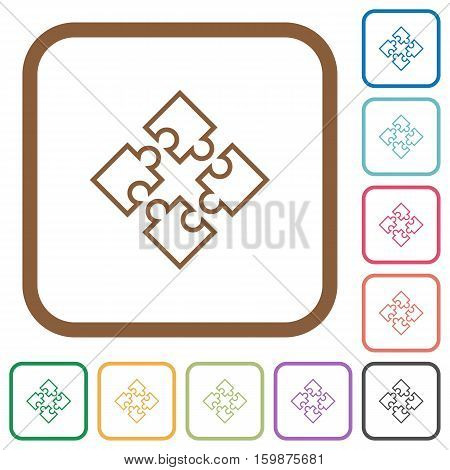 Puzzle pieces simple icons in color rounded square frames on white background