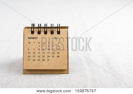 March. Calendar sheet. Two thousand and seventeen year calendar on bright background with copy space on right side.