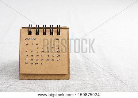 August. Calendar sheet. Two thousand and seventeen year calendar on bright background with copy space on right side.