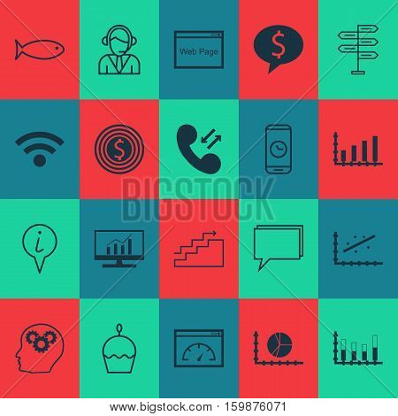 Set Of 20 Universal Editable Icons. Can Be Used For Web, Mobile And App Design. Includes Elements Such As Brain Process, Info Pointer, Circle Graph And More.