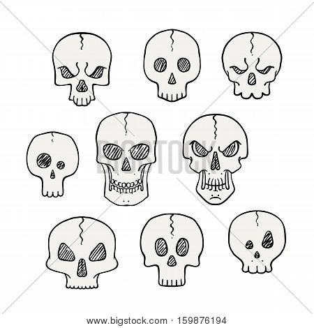 Cartoon set of skulls. Scary and halloween collection for other danger concept design