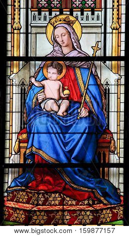 Stained Glass - Mother Mary And The Child Jesus