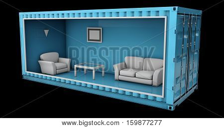 3d Illustration of Container House. Reuse Container for building houses.