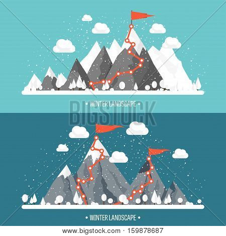 Mountains in Winter, Peak with Snow. Nature Landscape. Christmas Travel. Hiking and Camping. Wild life. Achievement, Exploring, Discovery. Flat Style.
