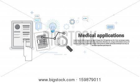 Hospital Medical Application Health Care Medicine Online Web Banner Thin Line Vector Illustration