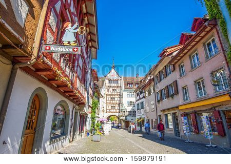 Colorful Houses In Old City Center Of Stein Am Rhein Willage, Canton Of Schaffhausen, Switzerland.