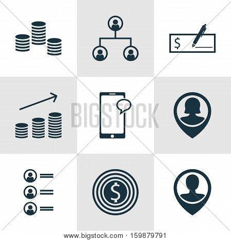 Set Of 9 Hr Icons. Can Be Used For Web, Mobile, UI And Infographic Design. Includes Elements Such As Structure, Bank, Increase And More.