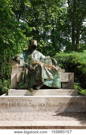 Anonymus statue in City Park in Budapest, Hungary