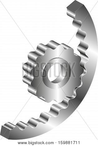 isolated metal machine gear - clip art illustration