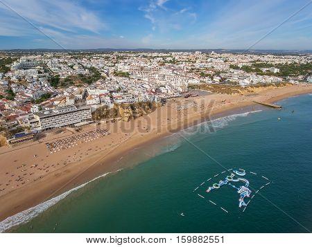 Aerial. Beach in Albufeira, water attractions in the summer. Praia de pescadores