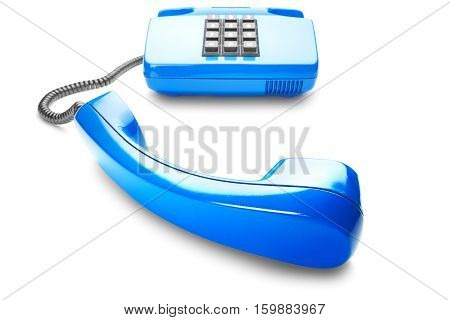 Landline phone in blue on a isolated white background with shadow