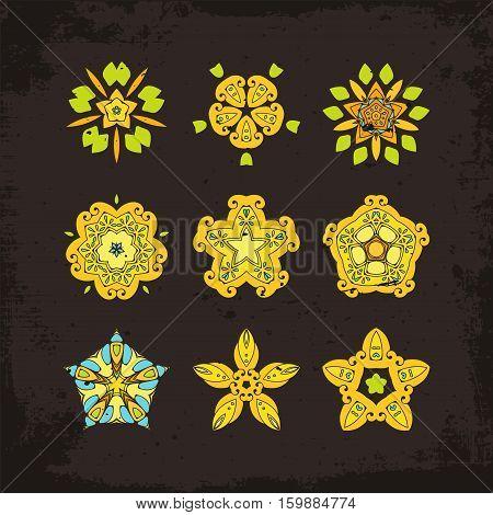 Set of ornate vector mandala symbols. Mehndi lace tattoo. Oriental weave. The circular pattern.