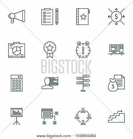 Set Of 16 Project Management Icons. Can Be Used For Web, Mobile, UI And Infographic Design. Includes Elements Such As Quality, Skills, Cash And More.