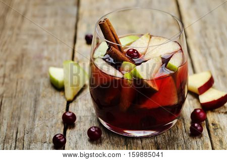 Red and green apple cranberry cinnamon sangria.