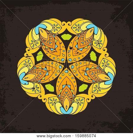 Vector mandala. Mehndi lace tattoo. Oriental weave. The circular pattern.