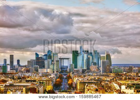 La Defense business district aerial view in Paris France