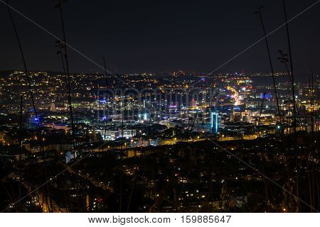 Stuttgart Germany Cityscape Landscape Night Lights Santiago de Chile Platz Overlook