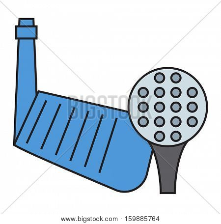Golf putter and ball on white background.