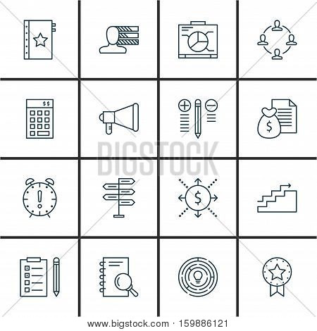 Set Of 16 Project Management Icons. Can Be Used For Web, Mobile, UI And Infographic Design. Includes Elements Such As Research, Budget, Teamwork And More.