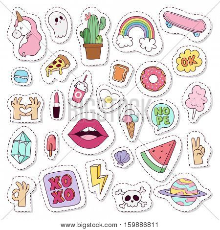 Hipster patches vector set.