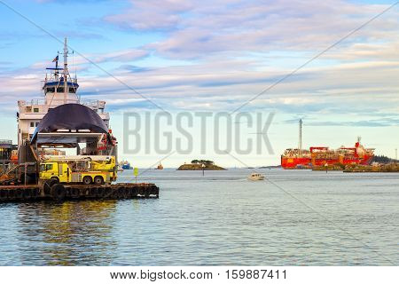 Ships moored at the quay in port of Stavanger Norway.