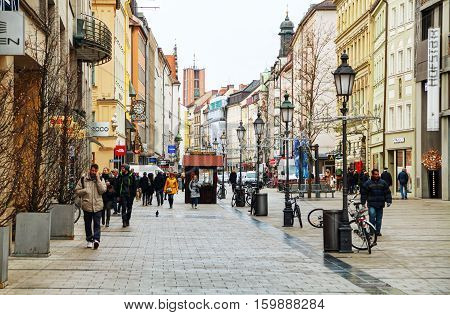 MUNICH - NOVEMBER 30: Sendlinger street crowded with people on November 30 2015 in Munich. It's the 3rd largest city in Germany after Berlin and Hamburg with a population of around 1.5 million.