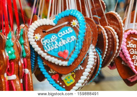MUNICH - NOVEMBER 30: Traditional heart shaped gingerbread for Christmas on November 30 2015 in Munich Germany