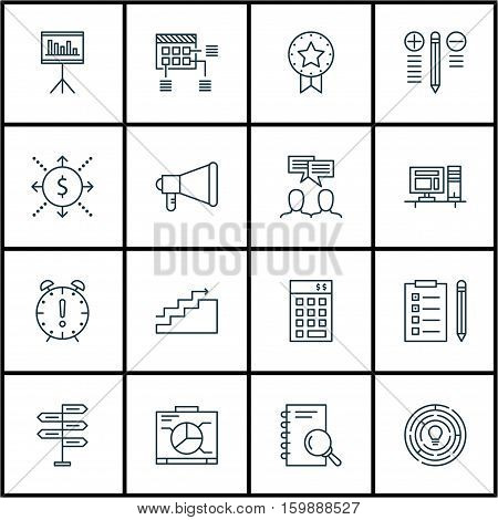 Set Of 16 Project Management Icons. Can Be Used For Web, Mobile, UI And Infographic Design. Includes Elements Such As Discussion, Time, Solution And More.