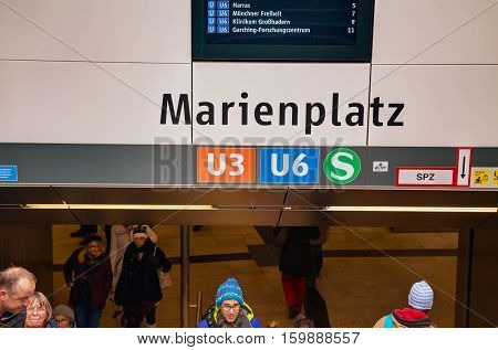 MUNICH - NOVEMBER 30: Marienplatz metro station with people on November 30 2015 in Munich. It's the 3rd largest city in Germany after Berlin and Hamburg with a population of around 1.5 million.