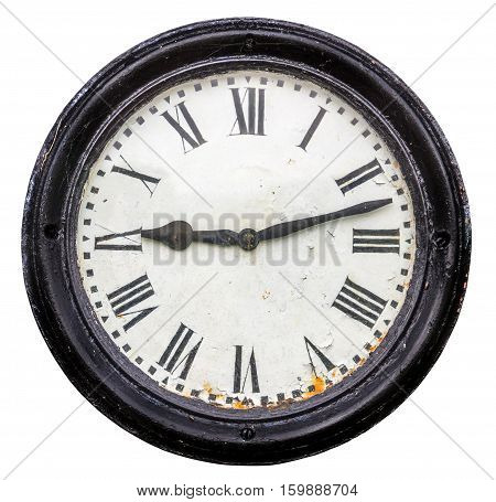 Isolated Rustic Old Roman Numeral Station Clock Face