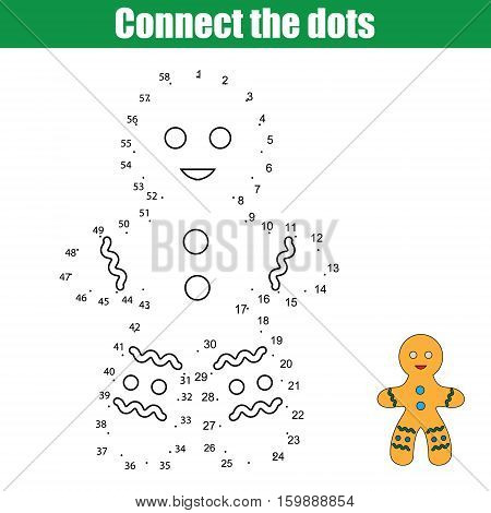 Connect the dots children educational drawing game. Dot to dot by numbers game for kids. Christmas winter holidays theme. Printable worksheet activity with gingerbread man