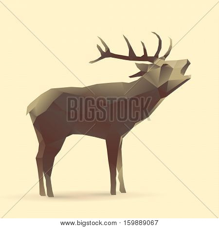 Polygon Illustration of Deer, logo of animal