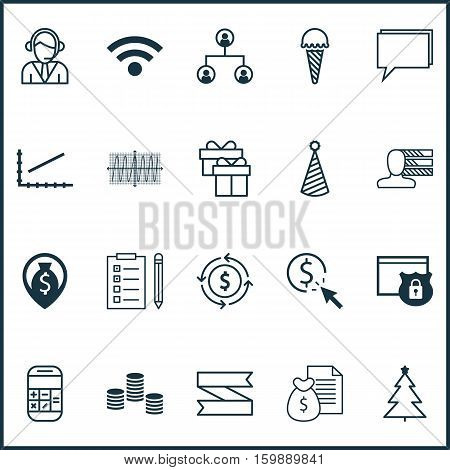 Set Of 20 Universal Editable Icons. Can Be Used For Web, Mobile And App Design. Includes Elements Such As Decorated Tree, Security, Report And More.