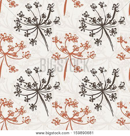 Seamless pattern with wet dandelion or milfoil flowers. Floral stylish endless wallpaper.