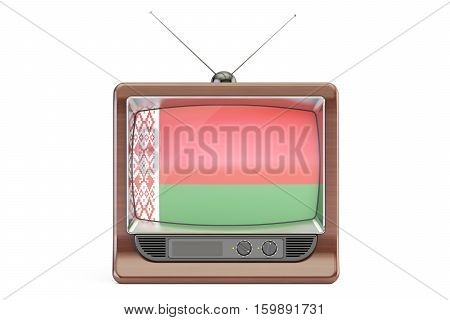 old tv with flag of Belarus. Belarusian Television concept 3D rendering