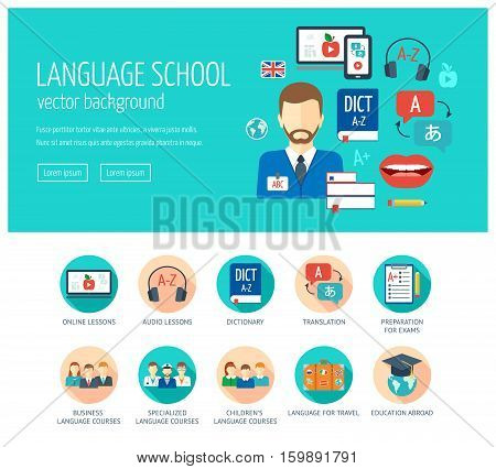 Web design concept for website and landing page for foreign language school and courses. Web banner. Flat design. Vector illustration