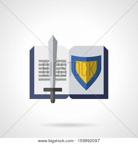 Literature genres symbol. Open book with sword and blue and yellow shield. Historical fiction, novels about knights. Flat color style vector icon.