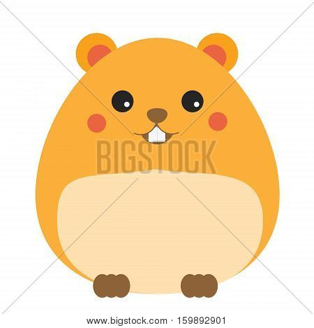 Cute kawaii hamster cahracter. Children style vector illustration. Sticker isolated design element for kids books