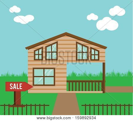 Real estate on sale. House townhouse sweet home vector illustration. Vector cottage with sale sign in yard