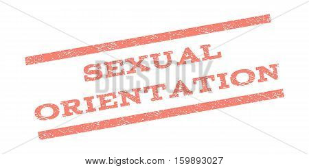 Sexual Orientation watermark stamp. Text caption between parallel lines with grunge design style. Rubber seal stamp with unclean texture. Vector salmon color ink imprint on a white background.