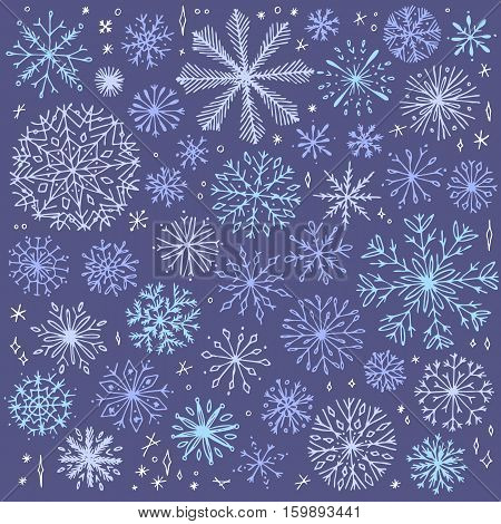 Vector seamless snowflake pattern. Elegant christmas background. Hipster minimalist snowflake collection. Winter intricate pattern.
