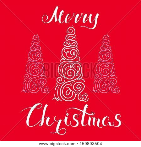 Merry Christmas, holiday vector illustration, hand-drawn postcard with felicitation and stylized christmas tree, red background, EPS 8