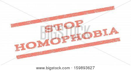 Stop Homophobia watermark stamp. Text caption between parallel lines with grunge design style. Rubber seal stamp with unclean texture. Vector salmon color ink imprint on a white background.