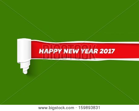 Hole in paper with torn sides as New Year background. Red teared paper edge isolated on green background for Merry Christmas promo and advertising. Vector torn paper template.
