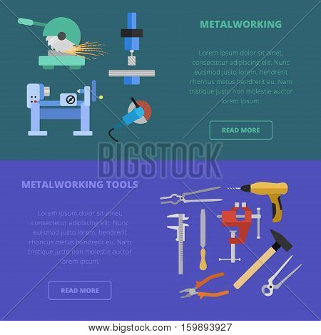 Vector metalworking icons, concept. Metal cutting milling grinding lathe work metal tools.