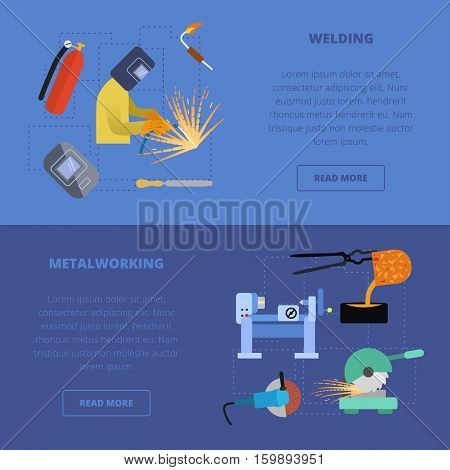 Vector metalworking icons, concept. Metal welding lathe work metal cutting grinding casting.